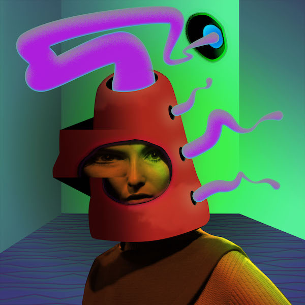 A model in a futuristic helmet-style hat designed by Pierre Cardin.   (Photo by Express Newspapers/Getty Images)
